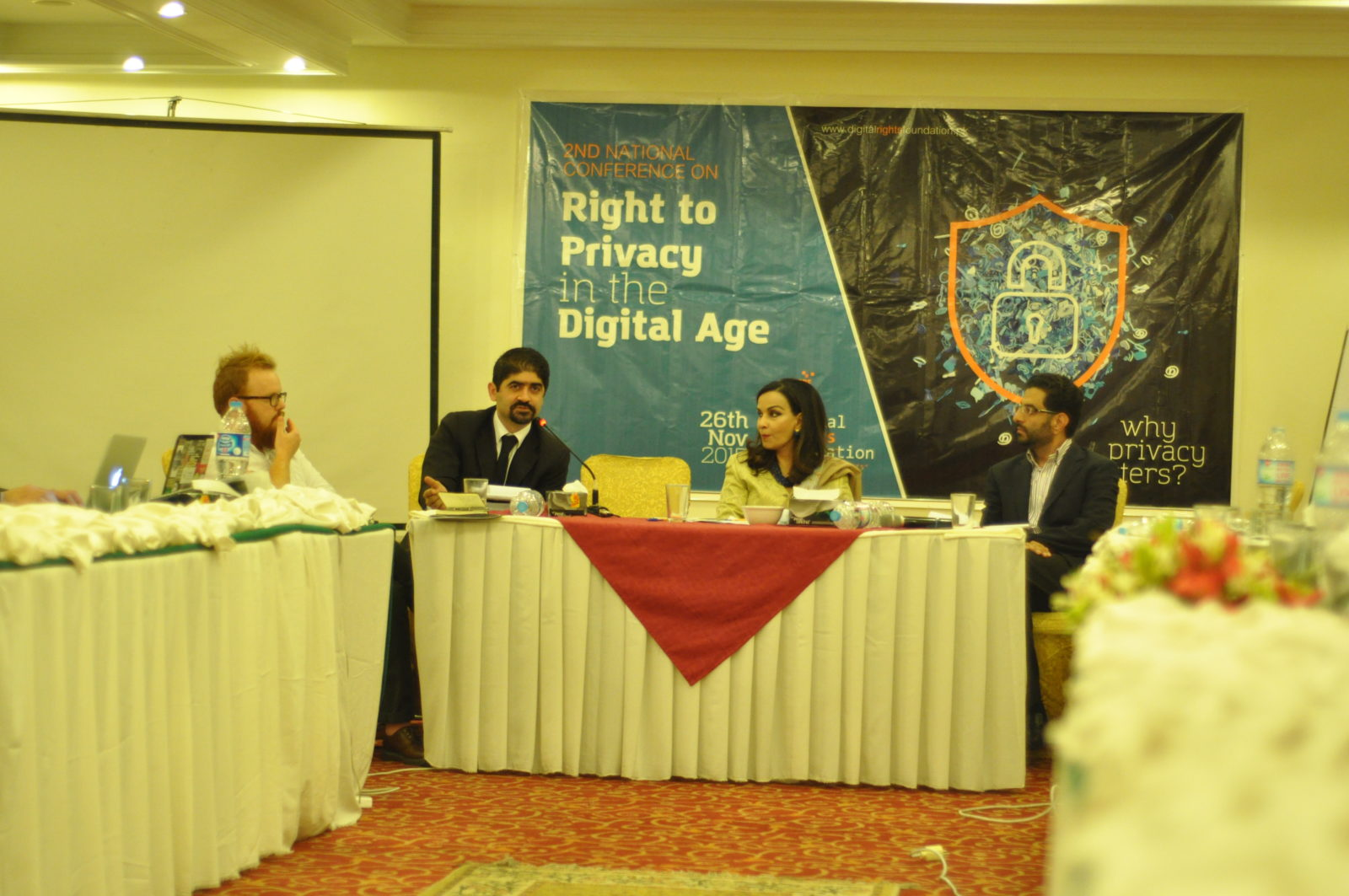 L-R: Matthew Rice (Privacy, Waqqas Mir, Ms. Sherry Rehman, Aftab Alam